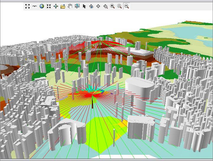 电磁信号的计算、与地理信息平台结合的可视化处理。